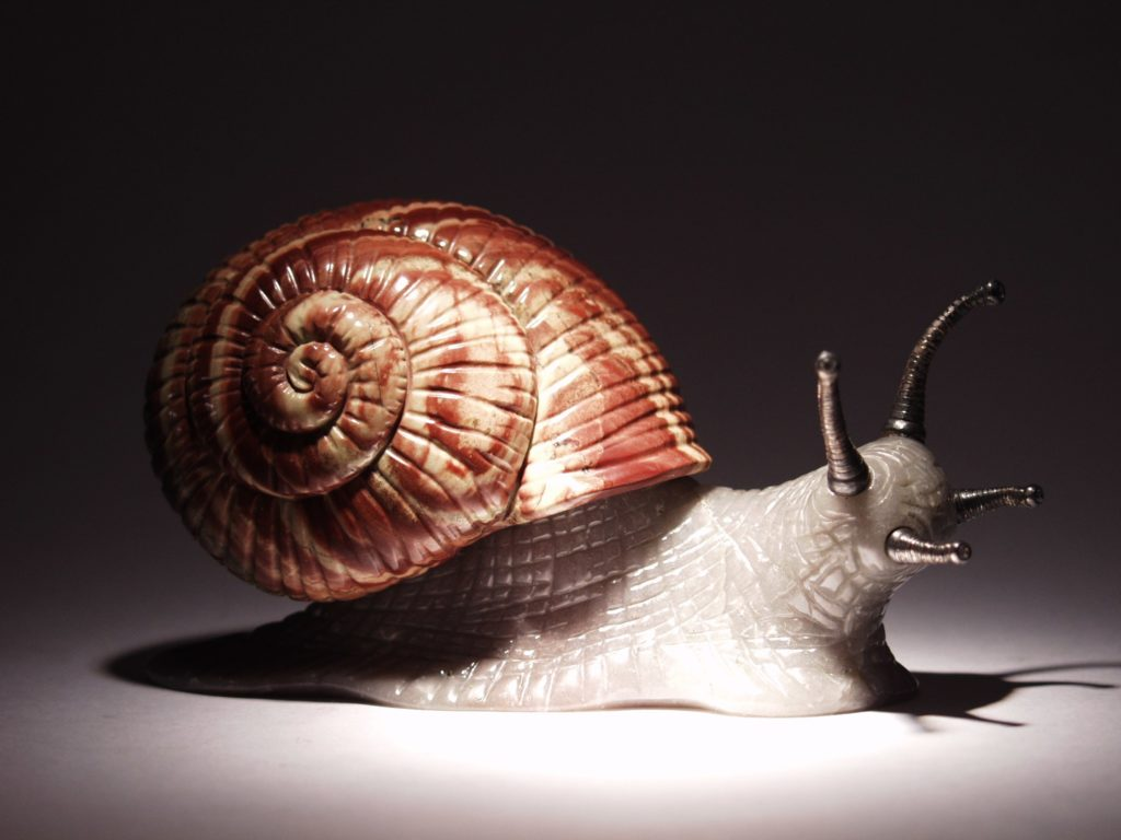 Gemstone carving artwork Snail by Dmitriy Emelyanenko