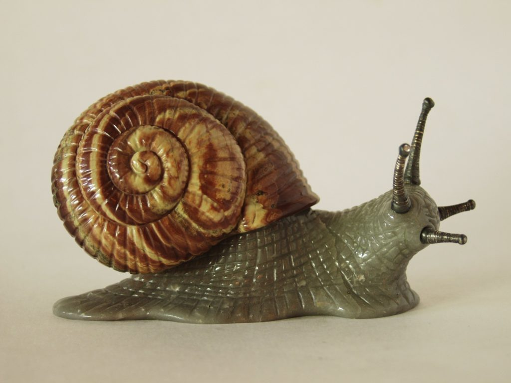 Gemstone carving artwork Snail by stone carver Dmitriy Emelyanenko