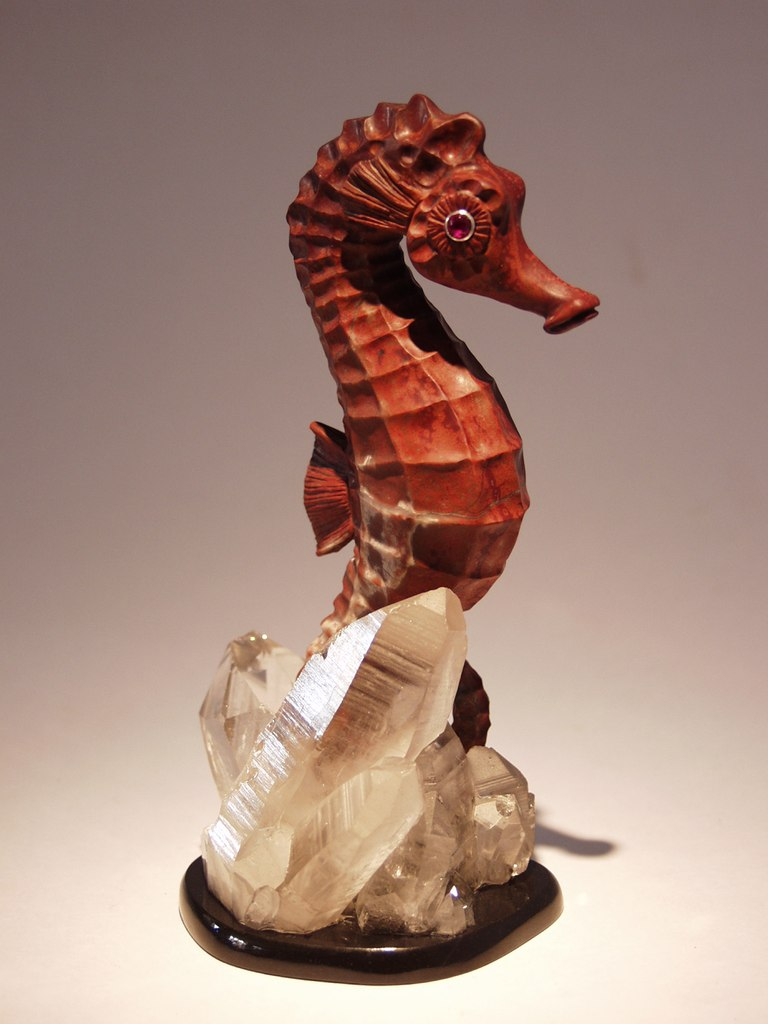 Gemstone cutting work Sea Horse by stone carver artist Dmitriy Emelyanenko