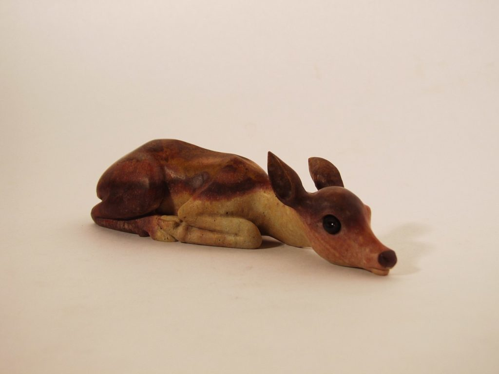 Hardstone carving artwork Fawn by stone carver Dmitriy Emelyanenko