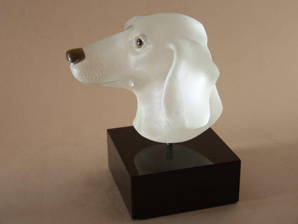 Hardstone carving work Bust Dachshund by gemcutter Dmitriy Emelyanenko