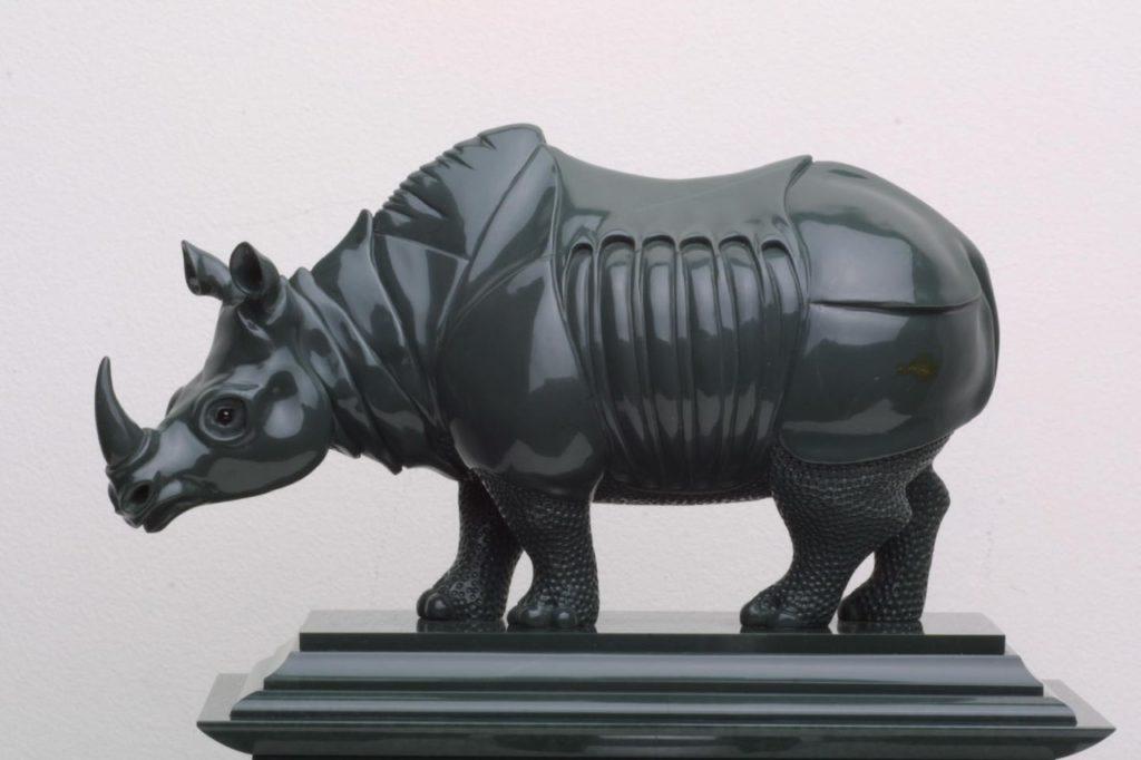 Hardstone cutting artwork Durer Rhinoceros by hardstone carver artist Dmitriy Emelyanenko
