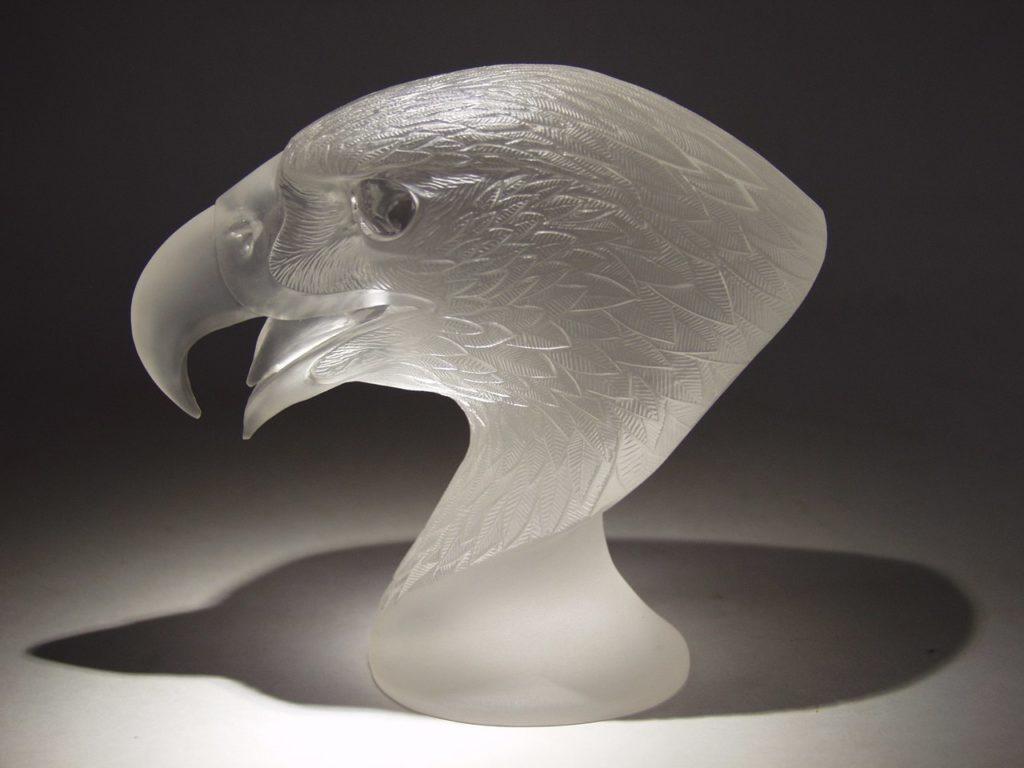 Rock crystal carving artwork Falcon by stone carver Dmitriy Emelyanenko