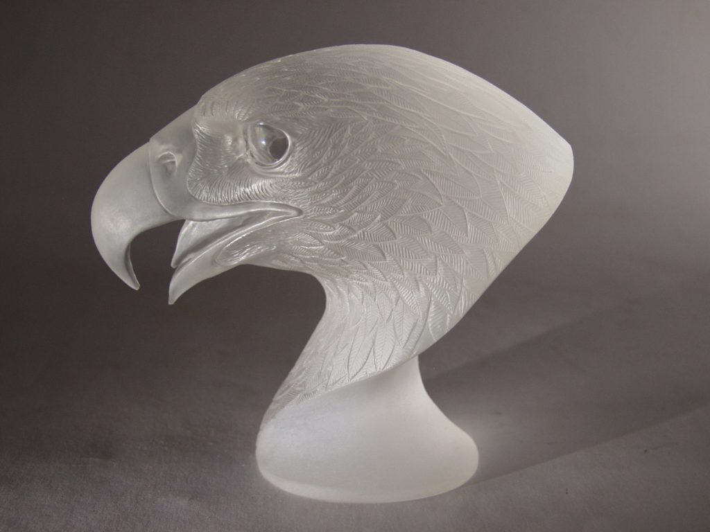 Rock crystal carving work Falcon by stonecutter artist Dmitriy Emelyanenko