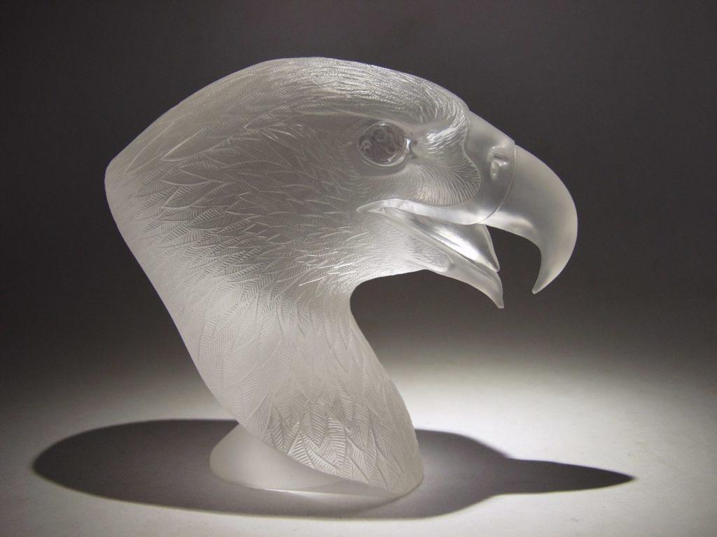 Rock crystal cutting work Falcon by stone carver Dmitriy Emelyanenko