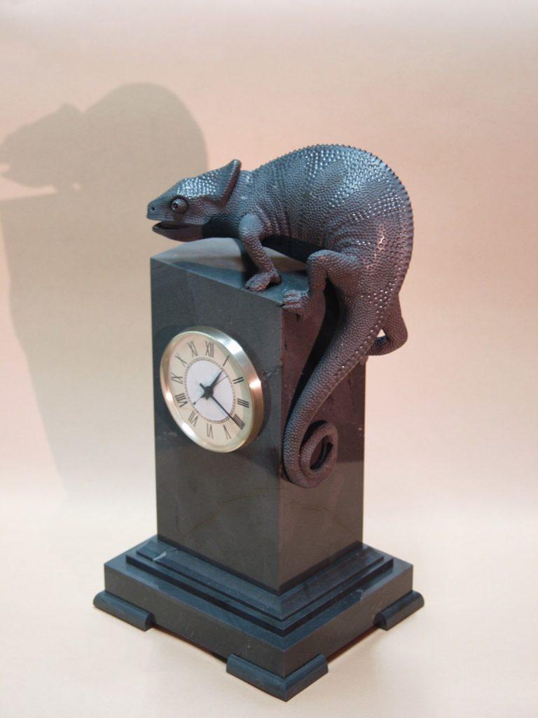 Stone carving artwork Chameleon by stonecarver Dmitriy Emelyanenko