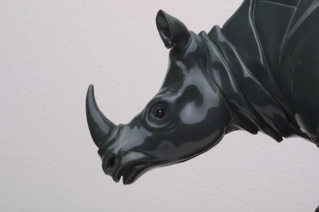 Stone carving artwork Durer Rhinoceros by hardstone carver Dmitriy Emelyanenko