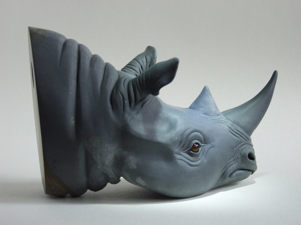 Stone carving artwork Hunting trophy - rhino head by stone carver Dmitriy Emelyanenko