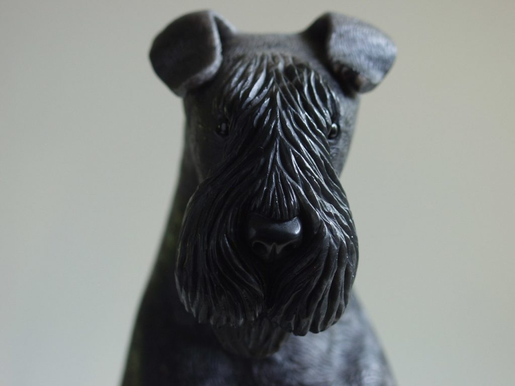 Stone carving artwork Terrier by Dmitriy Emelyanenko