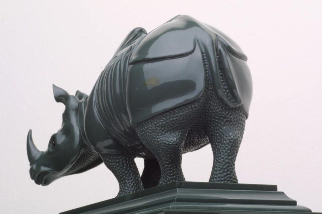 Stone carving work Durer Rhinoceros by hardstone carver artist Dmitriy Emelyanenko