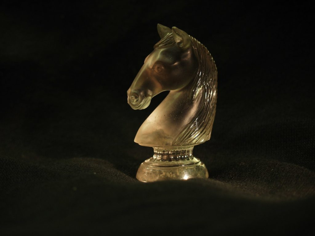 Transparent quartz carving work Chess piece Horse by gemcutter Dmitriy Emelyanenko