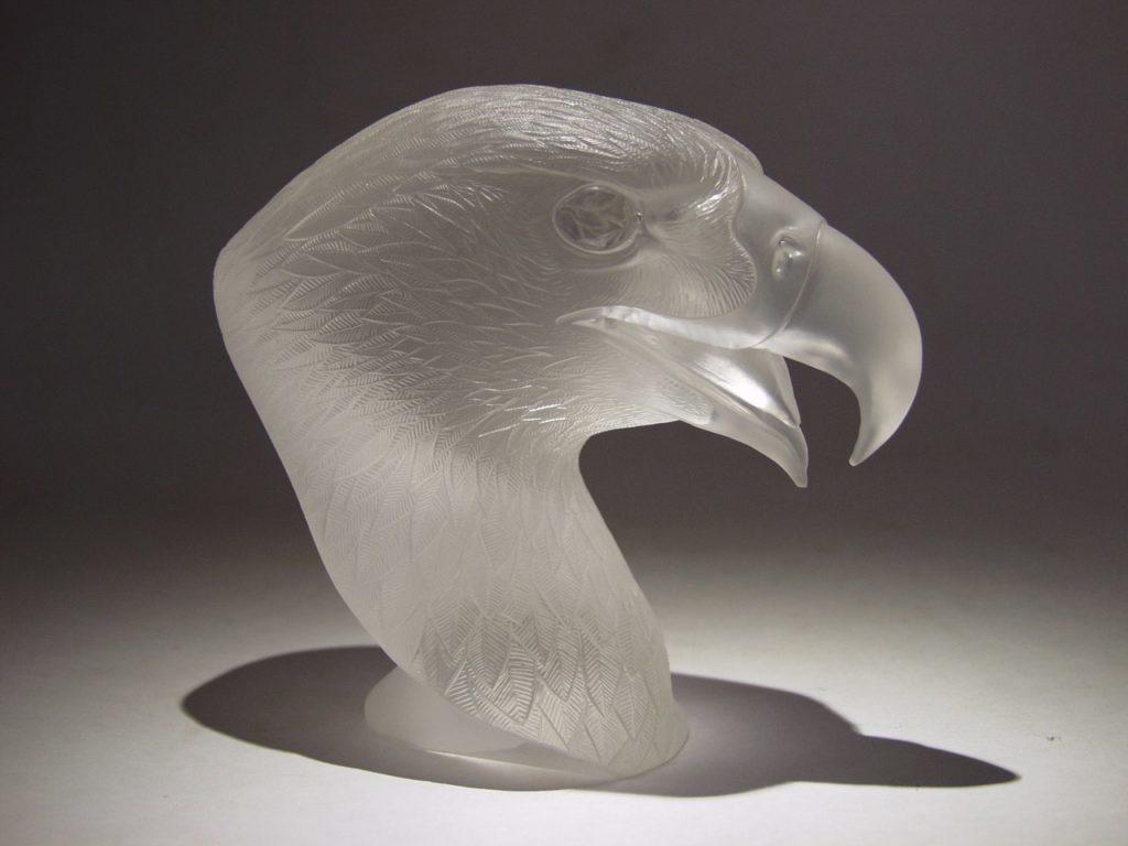 Transparent quartz carving work Falcon by Dmitriy Emelyanenko