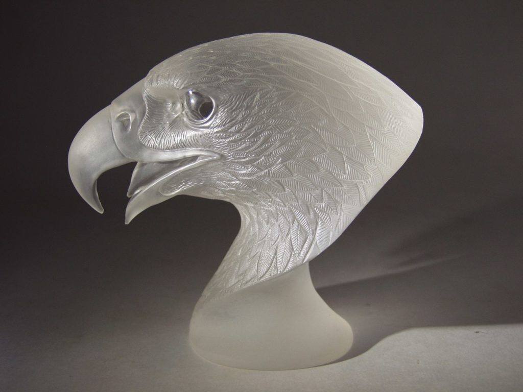 Transparent quartz cutting artwork Falcon by stone carver Dmitriy Emelyanenko